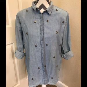 H&M Chambray Rhinestone Lng Slv Shirt 10